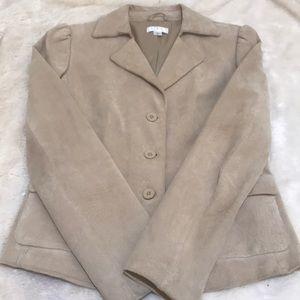 Ann Taylor Beige Suede Jacket Size 6